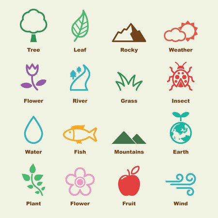 natural elements, vector infographic icons Vector