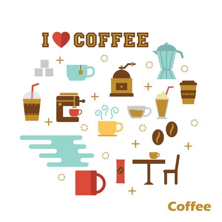 beans: coffee flat design, vector elements