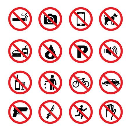 interdiction: ensemble de panneau d'interdiction, symboles de vecteur