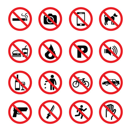 cars parking: set of prohibition sign, vector symbols