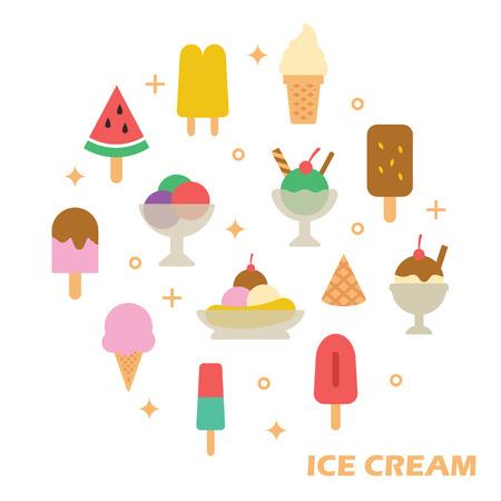 soft serve ice cream: ice cream flat design, vector elements