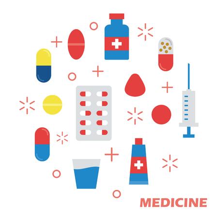first aid kit: medicine flat design, vector elements Illustration