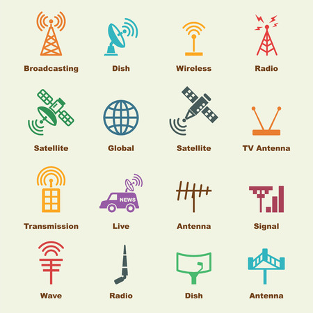 internet radio: antenna and satellite elements, vector infographic icons