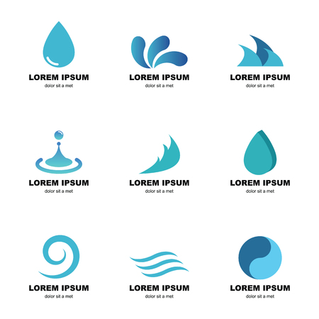 fresh water splash: water logo, vector elements design