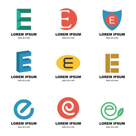 e alphabet: alphabet e logo, vector elements design