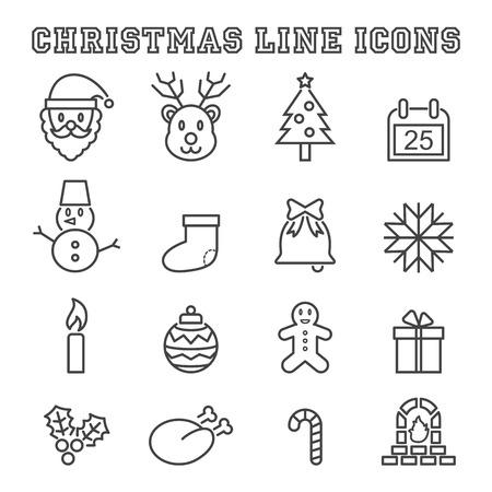 to present: christmas line icons, mono vector symbols