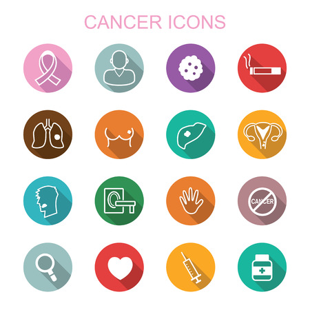 cancer long shadow icons, flat vector symbols Vectores
