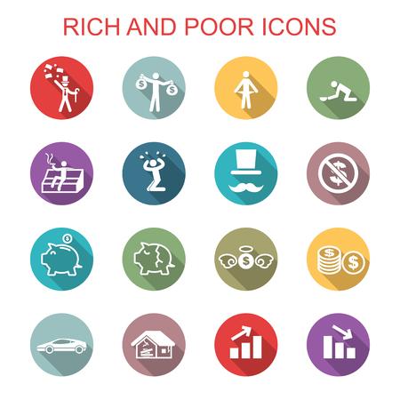 pobreza: ricos y pobres iconos sombras largas, símbolos vectoriales planas