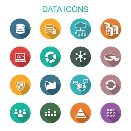 connect: data long shadow icons, flat vector symbols