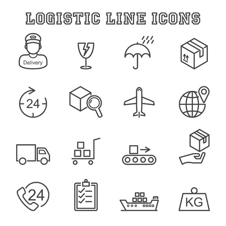 logistic line icons, mono vector symbols Ilustração
