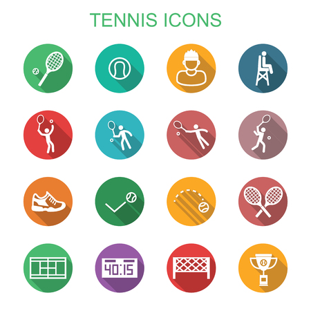 deuce: tennis long shadow icons, flat vector symbols