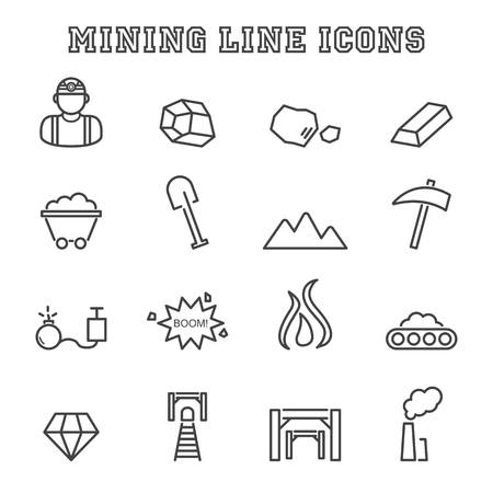 gold mining: mining line icons, mono vector symbols