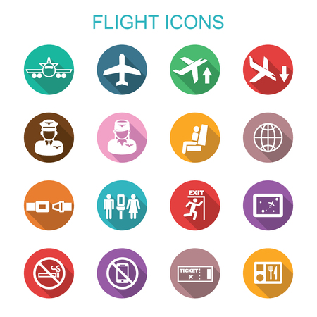 flight long shadow icons, flat vector symbols Vettoriali