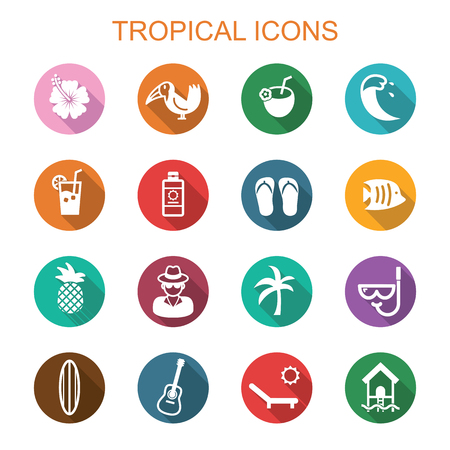 wave tourist: tropical long shadow icons, flat vector symbols