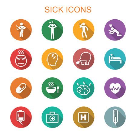 persona enferma: los iconos de sombra largos enfermos, los símbolos del vector planas
