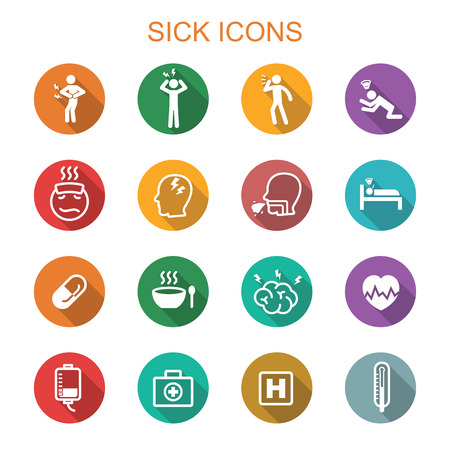 sick people: sick long shadow icons, flat vector symbols