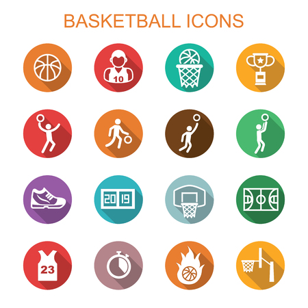 deportes colectivos: basketball long shadow icons, flat vector symbols