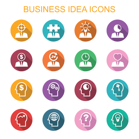 business symbols: business long shadow icons, flat vector symbols