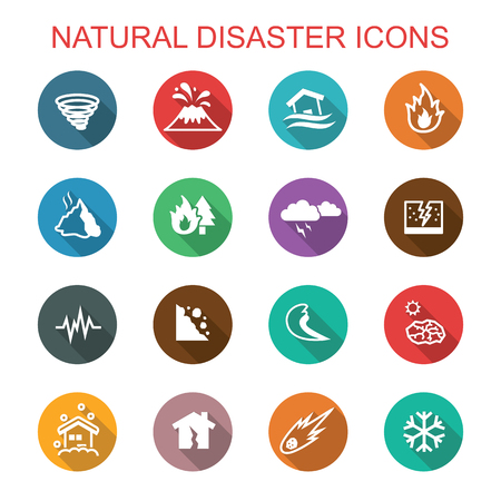 natural disaster long shadow icons, flat vector symbols