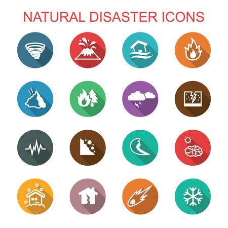 disasters: natural disaster long shadow icons, flat vector symbols