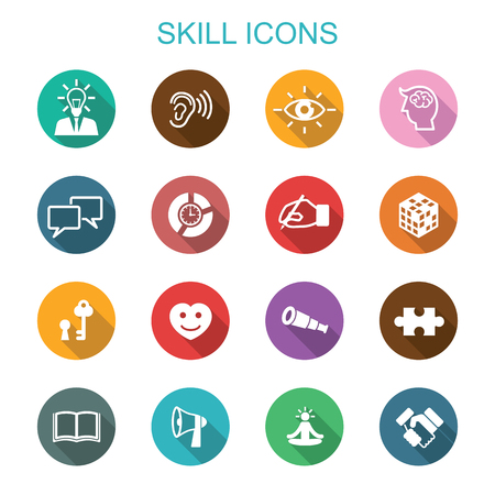 personal growth: skill long shadow icons, flat vector symbols Illustration