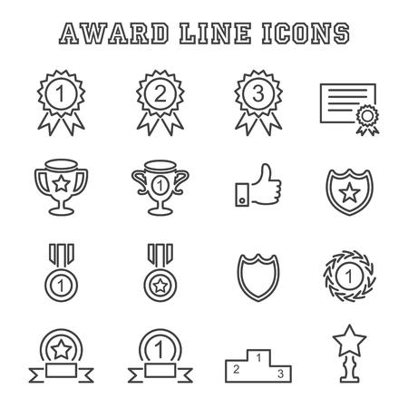 award line icons, mono vector symbols Иллюстрация