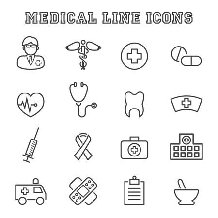 medical symbols: medical line icons, mono vector symbols