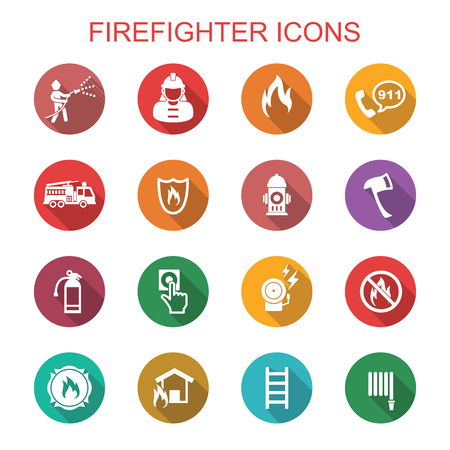 fire safety: firefighter long shadow icons, flat vector symbols