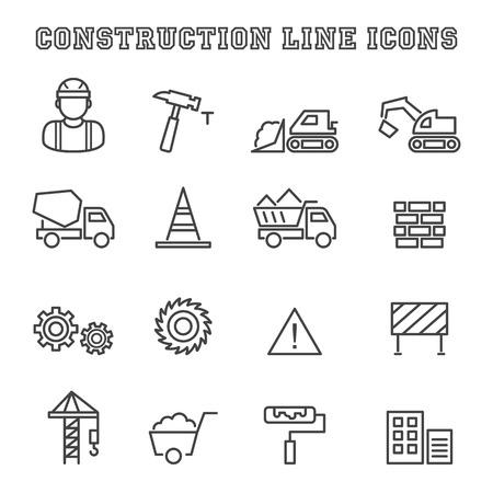 cement wall: construction line icons, mono vector symbols Illustration