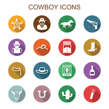 wanted poster: cowboy long shadow icons, flat vector symbols Illustration