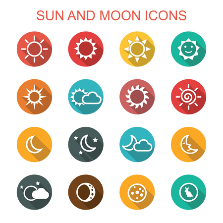 night time: sun and moon long shadow icons, flat vector symbols