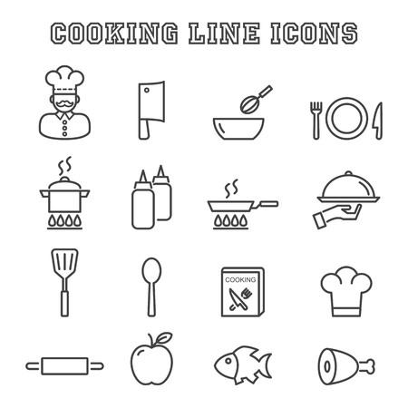 hombre cocinando: iconos de líneas de cocción, los símbolos de mono vector