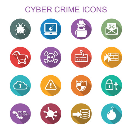 email security: cyber crime long shadow icons, flat vector symbols