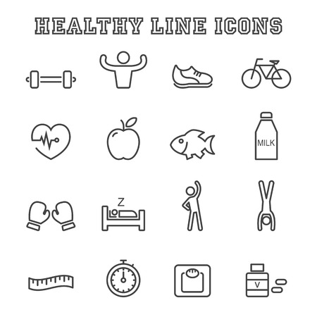 strong: healthy line icons, mono vector symbols