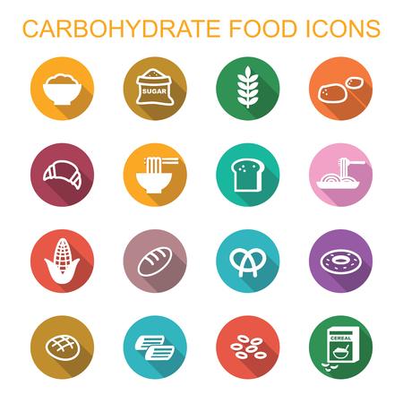 炭水化物食品の長い影アイコン、フラットのベクトル シンボル 写真素材 - 48843852