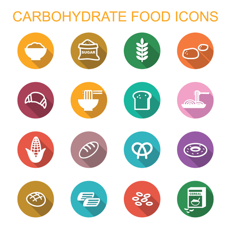 carbohydrate food long shadow icons, flat vector symbols