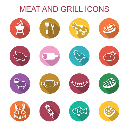 meat and grill ong shadow icons, flat vector symbols
