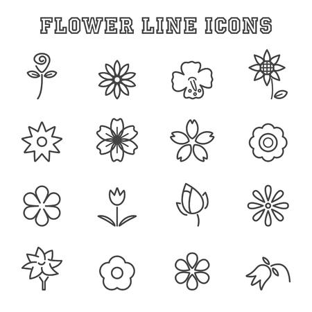 flower line icons, mono vector symbols