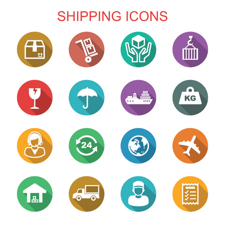 globe logo: shipping long shadow icons, flat vector symbols