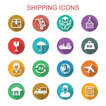 shipping long shadow icons, flat vector symbols