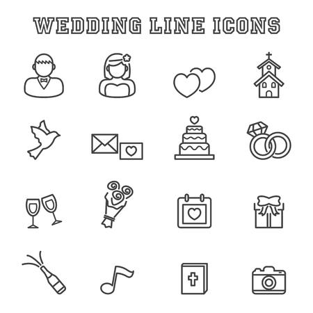 cérémonie mariage: icônes de ligne de mariage, symboles de vecteur de mono