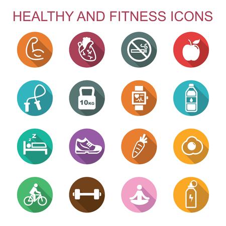 symbol sport: gesund und lange Fitness-Schatten-Symbole, flache Vektor-Symbole