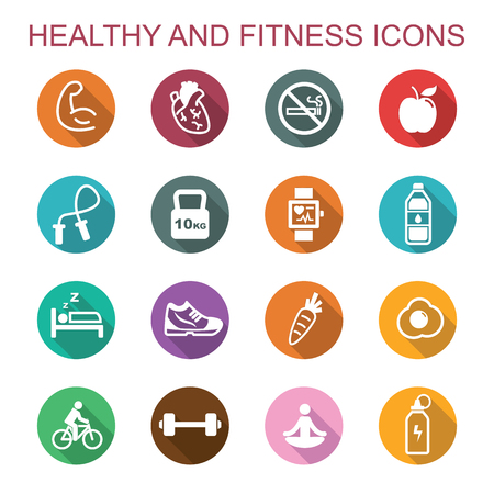 pictogramme: icônes en bonne santé et remise en forme longue ombre, symboles vectoriels plats Illustration