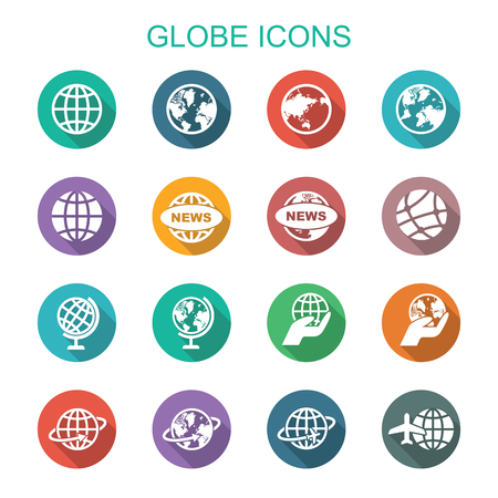 communication icons: globe long shadow icons, flat vector symbols