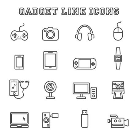 gadget: gadget line icons, mono vector symbols