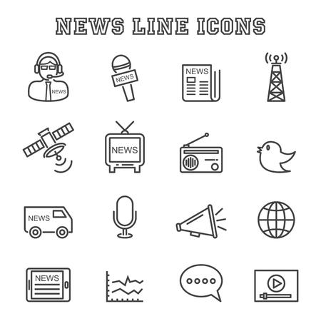 Icone line news, simboli mono vettore Vettoriali