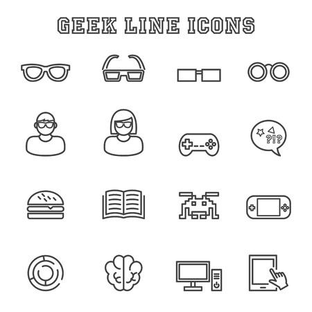 mania: geek line icons, mono vector symbols