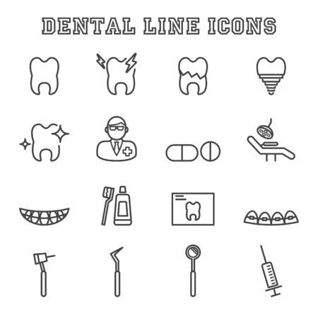 cavity braces: dental line icons, mono vector symbols Illustration