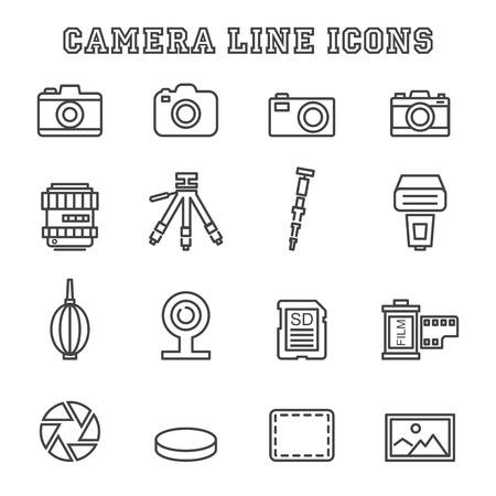 tripods: camera line icons, mono vector symbols
