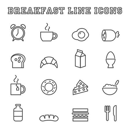 icônes de la ligne de petit-déjeuner, des symboles vectoriels mono